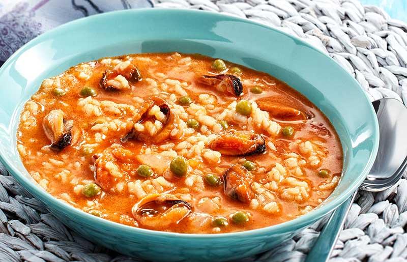 Arroz caldoso con Mejillones en salsa de Vieira